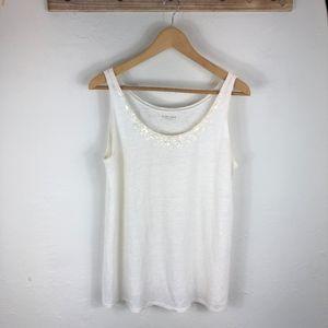 Eileen Fisher linen top with sequin Embellishment